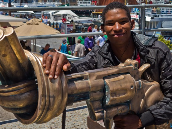 The twisted gun sculpture at the V&A Waterfront