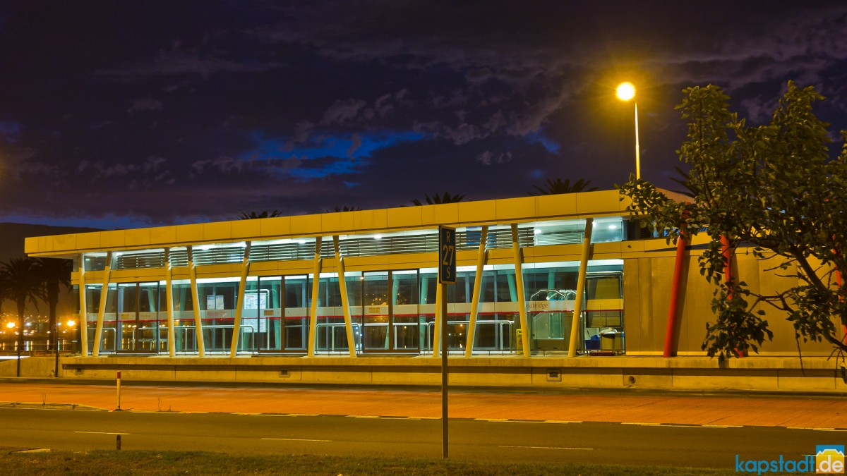 "MyCiti busstop ""Woodbridge"" in the evening"