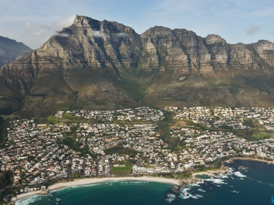 Helicopter flight: Camps Bay (left) and Clifton (right)