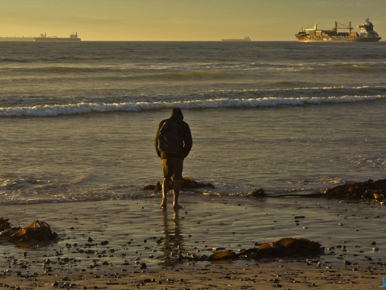 Strandloper at Milnerton beach after sunset