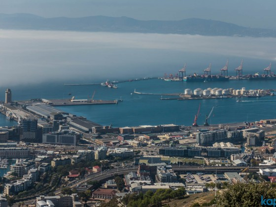 View from Signal Hill towards the Cityy Bowl and commercial harbour with a mistbank