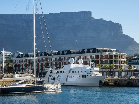 Cape Grace Hotel at the V&A Waterfront with Table Mountain