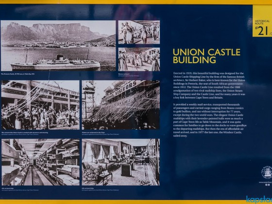Union Castle Building board at the V&A Waterfront