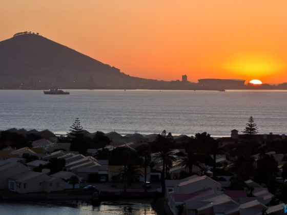 Sunset over Sea Point and the Soccer Stadium