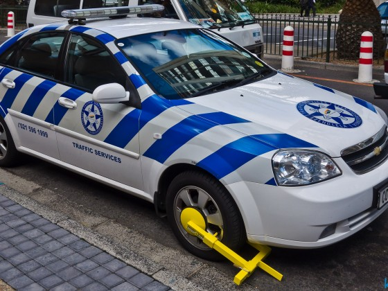 Wheel locked traffic police car