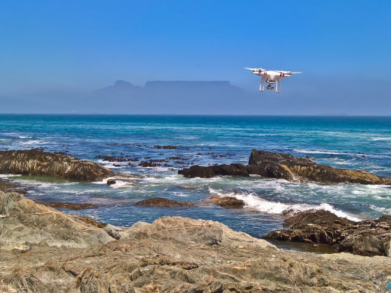 DJI Phantom drone with Table Mountain at Bloubergstrand