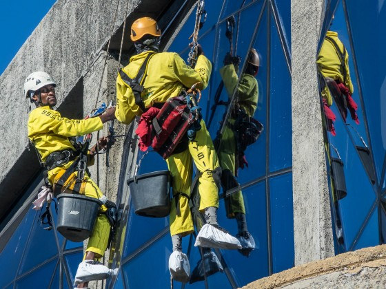 "Window cleaners at the ""Silo Hotel"" at the V&A Waterfront"