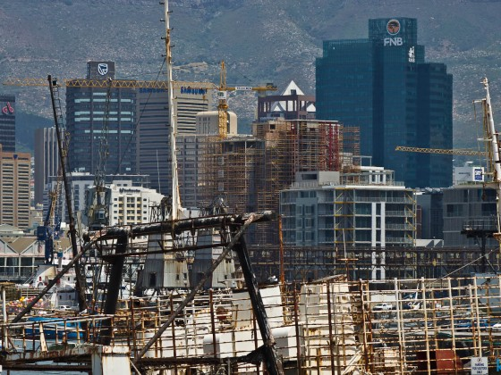 Cape Town commercial harbour with the City Bowl