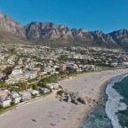 Aerial drone image from Camps Bay, the beach and the Twelve Apostels