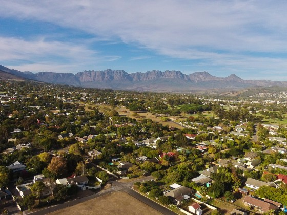 Aerial drone image from Somerset West and the Helderberg Mountains