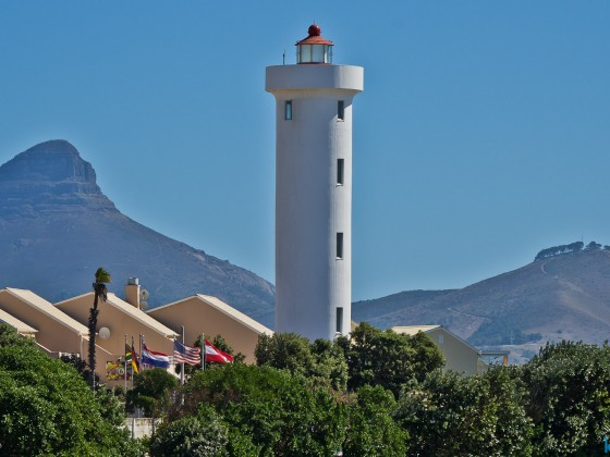 Milnerton Lighthouse with Lion's Head and Signal Hill