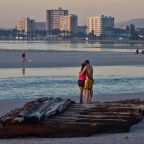 Evening at the Milnerton Lagoon with a part of an old shipwreck