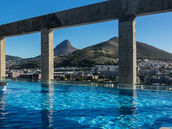 """Swimming pool the top floor of the """"Silo Hotel"""" at the V&A Waterfront"""