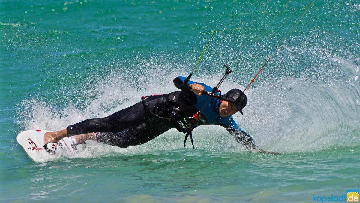 Kitesurfer on the beach of Table View