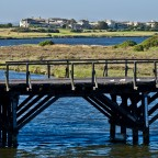 Old wooden bridge at Woodbridge Island