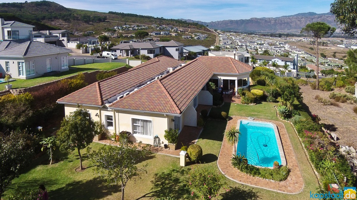 "Aerial drone image of the ""Somerset Sights Guest House"" in Somerset West"