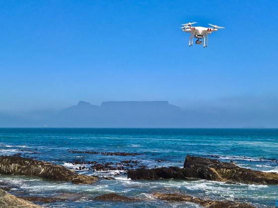 DJI Phantom drone with Table Mountain at Bloubergstrand